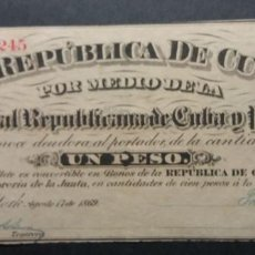 Billetes españoles: REPUBLICA DE CUBA Y PUERTO RICO 1869 SERIE F BC. Lote 253356870