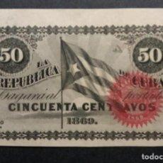 Billetes españoles: CUBA 50 CENTAVOS REPÚBLICA DE CUBA 1869 SIN NUMERACIÓN SERIE A SC-. Lote 253357185