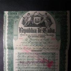 Billetes españoles: BONO DE DEUDA 100 PESOS 1905 DE LA REPÚBLICA DE CUBA. Lote 253358575