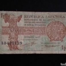 Billetes españoles: BILLETE DE UNA PESETA ESPAÑA AÑO 1937 REPUBLICA ESPAÑOLA. Lote 253362140