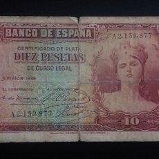 Billetes españoles: BILLETE DE 10 PESETAS ESPAÑA 1935. Lote 253929405