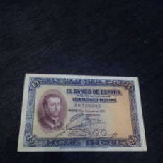 Billetes españoles: BILLETE 25 PESETAS 1926 EBC SERIE A. Lote 253971150