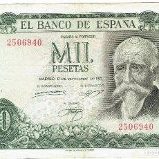 Billetes españoles: 1000 MIL PESETAS MADRID 17 SETIEMBRE DE 1971 ORIGINAL. Lote 254204115