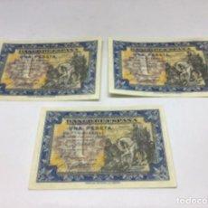Billetes españoles: LOTE DE TRES BILLETES UNA PESETA MADRID 1 DE JUNIO DE 1940 - LOTE B -SEGURAMENTE PLANCHA PERFECTOS. Lote 254227990