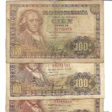 Billets espagnols: LOTE 5 BILLETES 100 PESETAS - EMISIÓN 2 MAYO 1948 - MADRID - SERIES B,C,D,E Y H - BC. Lote 254260295