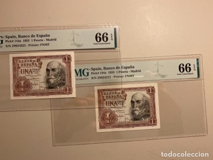 1 PESETA 1953 PMG 66 EPQ PAREJA CORRELATIVA (Numismática - Notafilia - Billetes Españoles)