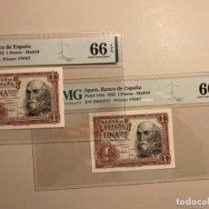 Banconote spagnole: 1 PESETA 1953 PMG 66 EPQ PAREJA CORRELATIVA. Lote 254338720
