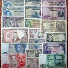 Billetes españoles: 20 BILLETES DE ALFONSO XIII, 2ª REPUBLICA, ESTADO ESPAÑO Y JUAN CARLOS IL. LOTE 1631. Lote 254477380