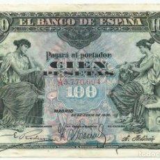 Billetes españoles: BILLETE DE 100 PESETAS DE 30 DE JUNIO DE 1906, SERIE A. LOTE. 1637. Lote 254502070