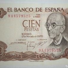 Billetes españoles: B-39 SERIE ESPECIAL 9A SUSTITUCIÓN BILLETE 100 PESETAS 1970. SIN CIRCULAR PERO CON DOBLEZ EN MEDIO.. Lote 254567340