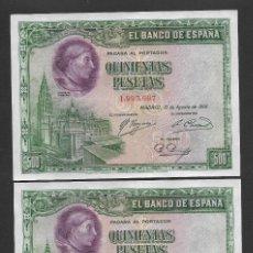 Billetes españoles: PAREJA CORRELATIVA 500 PESETAS 1928 SIN SERIE S/C. Lote 254632550