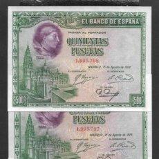 Billetes españoles: TRIO CORRELATIVO 500 PESETAS 1928 SIN SERIE S/C. Lote 254632735