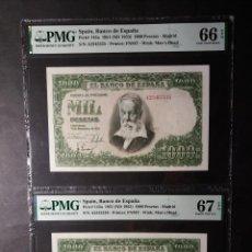 Billetes españoles: PMG 1000 PESETAS 1951 SERIE A PAREJA PMG 66/67 EPQ. Lote 254821620