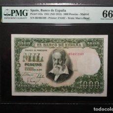Billetes españoles: PMG 1000 PESETAS 1951 SERIE B PMG 66 EPQ. Lote 254822645