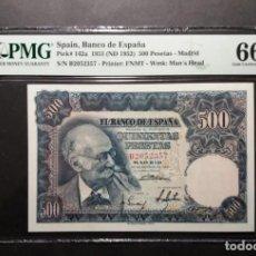Billetes españoles: PMG 500 PESETAS 1951 BENLLIURE SERIE B PMG 66 EPQ. Lote 254823090