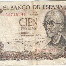 Billetes españoles: ESPAÑA - SPAIN 100 PESETAS 17-11-1970 REPLACEMENT SERIE 9A PK 152A R. Lote 254827580