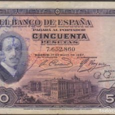 Billetes españoles: BILLETES ESPAÑOLES - ALFONSO XIII- 50 PESETAS 1927 - SIN SERIE (MBC-). Lote 254837025