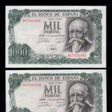 Billetes españoles: PAREJA CORRELATIVA 1000 PESETAS 1971 S/C-. Lote 254916165