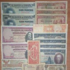 Billetes españoles: B-93 LOTE 20 BILLETES ESPAÑOLES DESDE ALFONSO XIII, REPÚBLICA ESPAÑOLA, ESTADO ESPAÑOL, LOCAL TREMP.. Lote 254946485