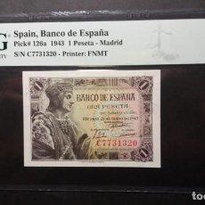 Billetes españoles: PMG BILLETE 1 PESETA 1943 REY CATÓLICO SERIE C PMG 67 EPQ CERTIFICADO SIN CIRCULAR. Lote 254996550