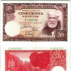 Billetes españoles: SPAIN 50 PESETAS 1951 P 141A SANTIAGO RUSIÑOL UNC. Lote 255481505