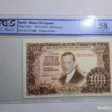 Billetes españoles: SOLO ACEPTO PAGO POR PAYPAL BILLETE 100 PESETAS 1953 PCGS 58 CH. AUNC SPAIN BANKNOTE. Lote 255534295