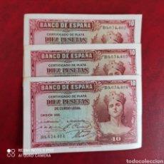 Billetes españoles: TRÍO CORRELATIVO 10 PESETAS 1935. Lote 255966305
