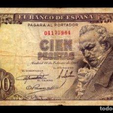 Billetes españoles: ESPAÑA 100 PESETAS FRANCISCO JOSÉ DE GOYA 1946 PICK 131 SIN SERIE BC F. Lote 255972505