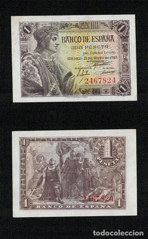 ESPAÑA AÑO 1943. 1 PESETA OJO SIN SERIE 2467824. BONITA EN EBC CON SU APRESTO. (Numismática - Notafilia - Billetes Españoles)