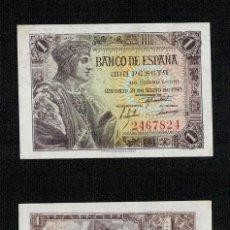 Banconote spagnole: ESPAÑA AÑO 1943. 1 PESETA OJO SIN SERIE 2467824. BONITA EN EBC CON SU APRESTO.. Lote 256038305