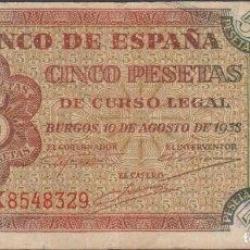 Billetes españoles: BILLETES ESPAÑOLES-ESTADO ESPAÑOL 5 PESETAS 1938 (SERIE K) (MBC-). Lote 256108235