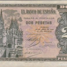 Billetes españoles: BILLETES ESPAÑOLES-ESTADO ESPAÑOL 2 PESETAS 1938 (SERIE D) (EBC). Lote 256109320