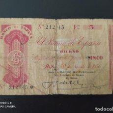 Billetes españoles: 5 PTAS DE 1936..RARO SIN SERIE.. BANCO DE ESPAÑA EN BILBAO... ROTURAS....ES EL DE LAS FOTOS. Lote 257355530