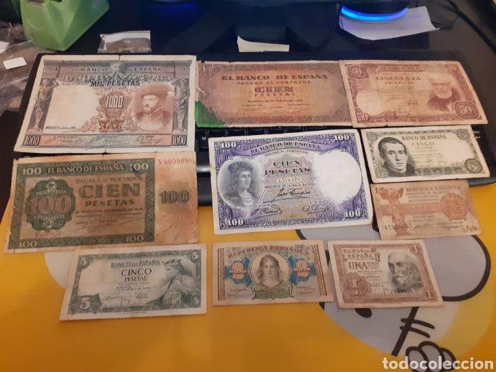 ESPAÑA: LOTE 10 BILLETES. II REPUBLICA-BURGOS-FRANCO. IDEALES. (Numismática - Notafilia - Billetes Españoles)