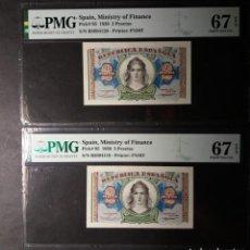 Billetes españoles: PMG BILLETE DOS PESETAS 1938 SERIE B PAREJA CORRELATIVA 67/67 E.P.Q PMG. Lote 210598730