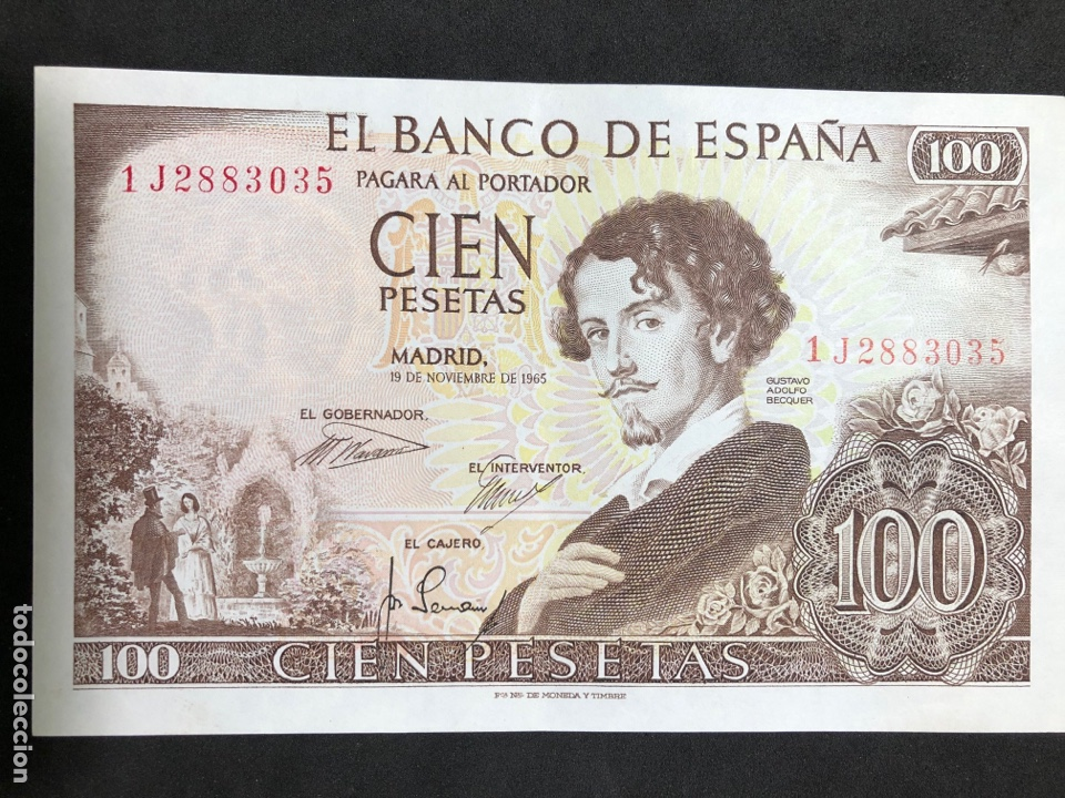 Billetes españoles: Pareja correlativa de billetes de 100 pesetas de 1965. Sin circular - Foto 4 - 257732235
