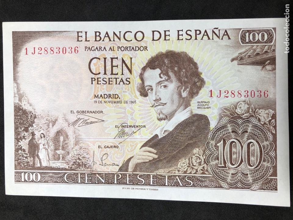 Billetes españoles: Pareja correlativa de billetes de 100 pesetas de 1965. Sin circular - Foto 5 - 257732235