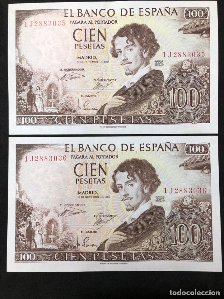 PAREJA CORRELATIVA DE BILLETES DE 100 PESETAS DE 1965. SIN CIRCULAR (Numismática - Notafilia - Billetes Españoles)