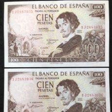 Billetes españoles: PAREJA CORRELATIVA DE BILLETES DE 100 PESETAS DE 1965. SIN CIRCULAR. Lote 257732235
