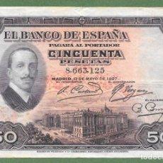 Banconote spagnole: CINCUENTA 50 PESETAS 1927 SIN SELLO RARO ¡¡¡ LIQUIDACION COLECCION!!!!. Lote 257928380
