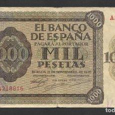 Billetes españoles: 1000 PESETAS 1936 SERIE A MBC-. Lote 258080615