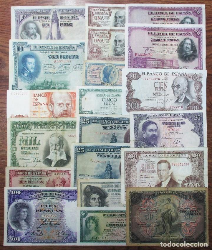 20 BILLETES DE ALFONSO XIII, 2ª REPUBLICA, ESTADO ESPAÑOL Y JUAN CARLOS I. LOTE 1642 (Numismática - Notafilia - Billetes Españoles)