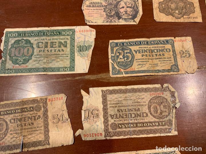Billetes españoles: Gran lote de billetes antiguos Burgos 500,50,100 pesetas 1938-1936 - Foto 11 - 260077715