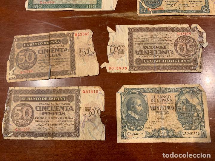 Billetes españoles: Gran lote de billetes antiguos Burgos 500,50,100 pesetas 1938-1936 - Foto 12 - 260077715