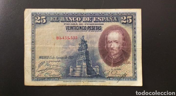 BILLETE DE 25 PESETAS ESPAÑA AÑO 1928 CALDERÓN DE LA BARCA (Numismática - Notafilia - Billetes Españoles)