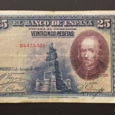 Banconote spagnole: BILLETE DE 25 PESETAS ESPAÑA AÑO 1928 CALDERÓN DE LA BARCA. Lote 260357885