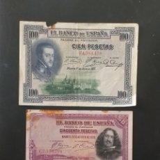 Billetes españoles: LOTE DE 2 BILLETES ANTIGUOS ESPAÑA. Lote 260464320