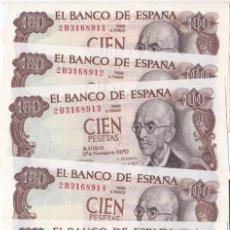 Billets espagnols: HP4-3-LOTE 5 BILLETES 100 PTAS FALLA 1970. SIN CIRCULAR. NUMERACIÓN CONSECUTIVA. Lote 261319085