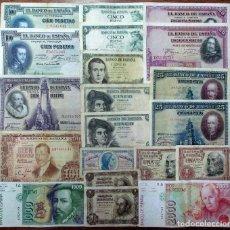Billets espagnols: 20 BILLETES DE ALFONSO XIII, 2ª REPUBLICA, ESTADO ESPAÑOL Y JUAN CARLOS I. LOTE 1648. Lote 261334700