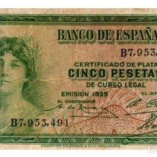 Billetes españoles: BILLETE DE ESPAÑA DE 5 PESETAS DE 1935 CIRCULADO. Lote 261664575